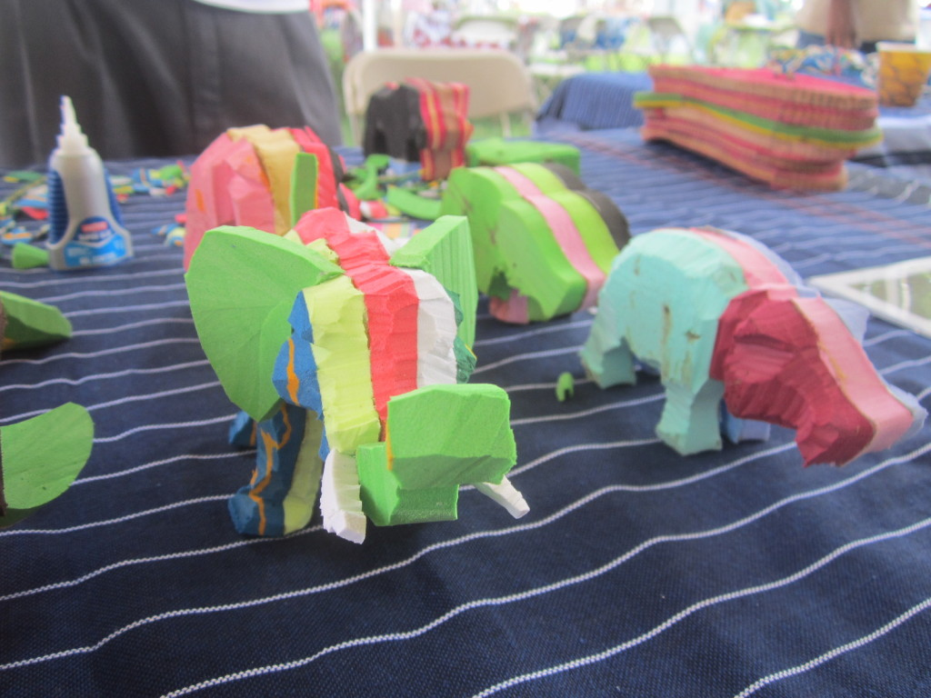 Animals from carved flip flops - showing early stages