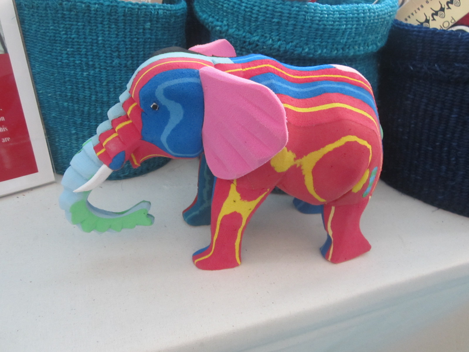 Elephant made from carved flip flops