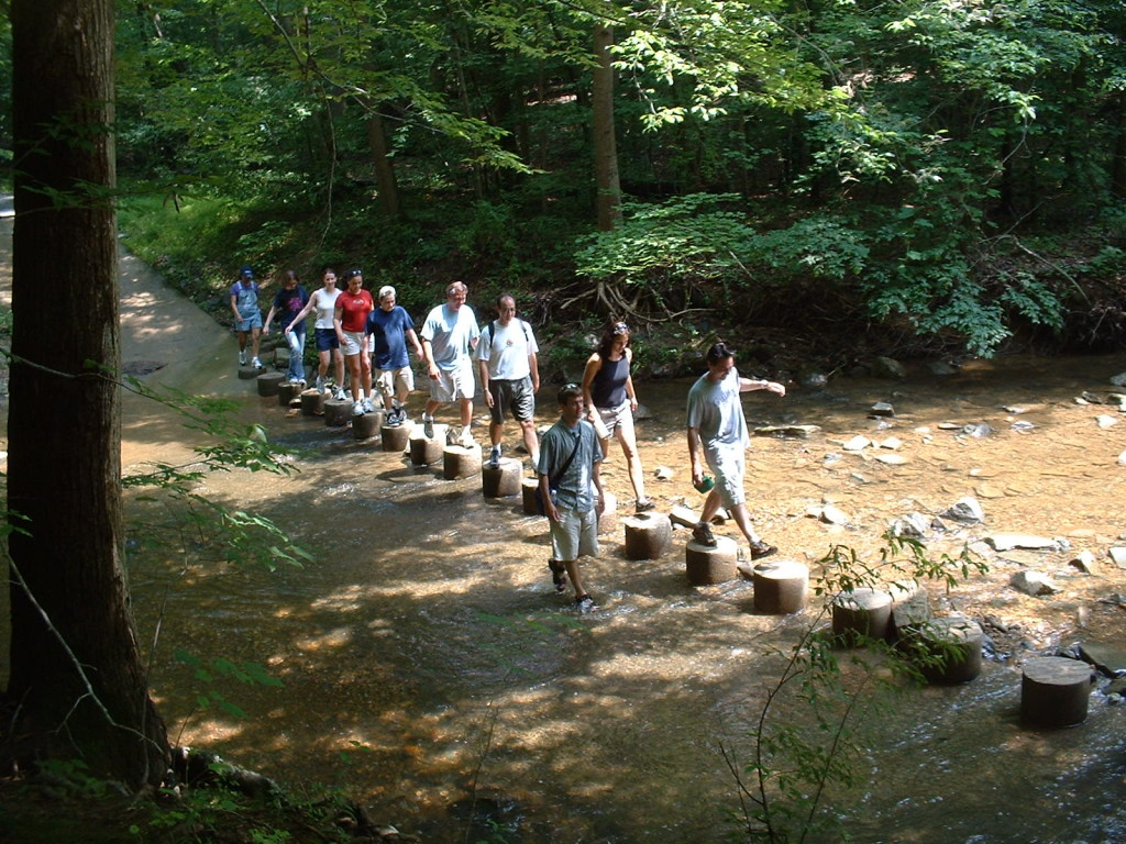 Team hike at Scott's Run, 2004