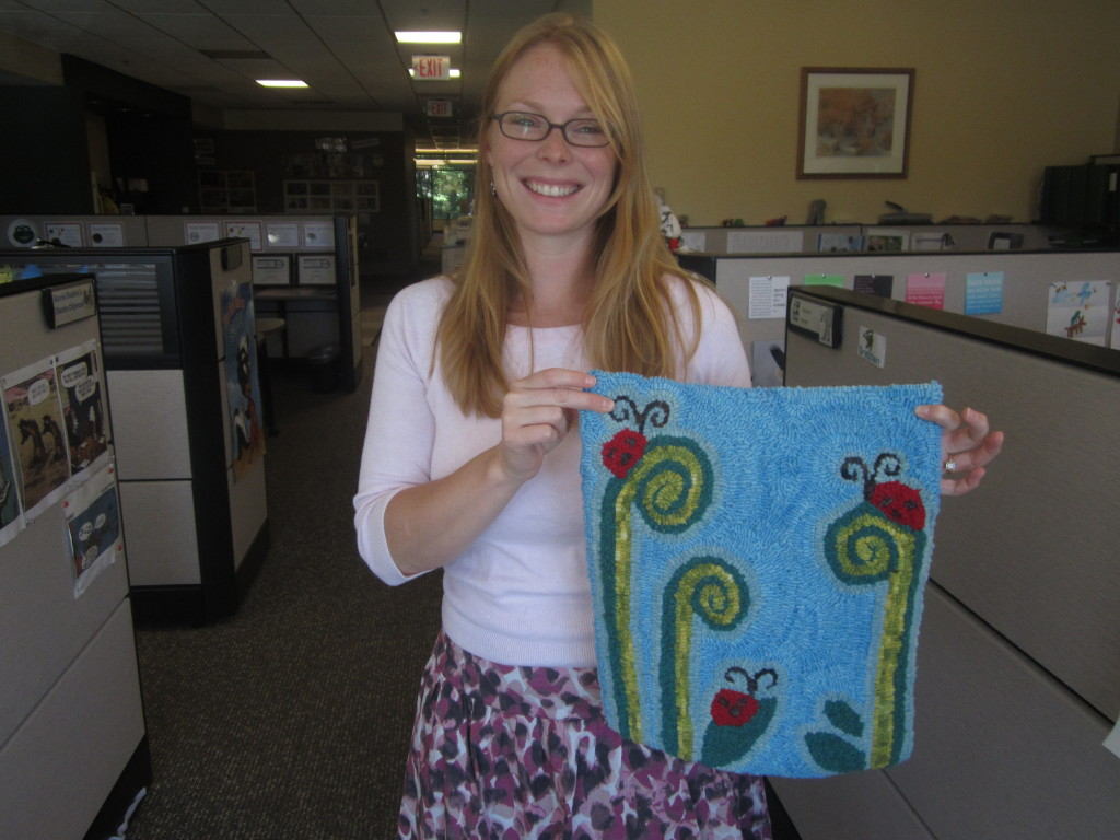 Megan with hooked rug - 2012