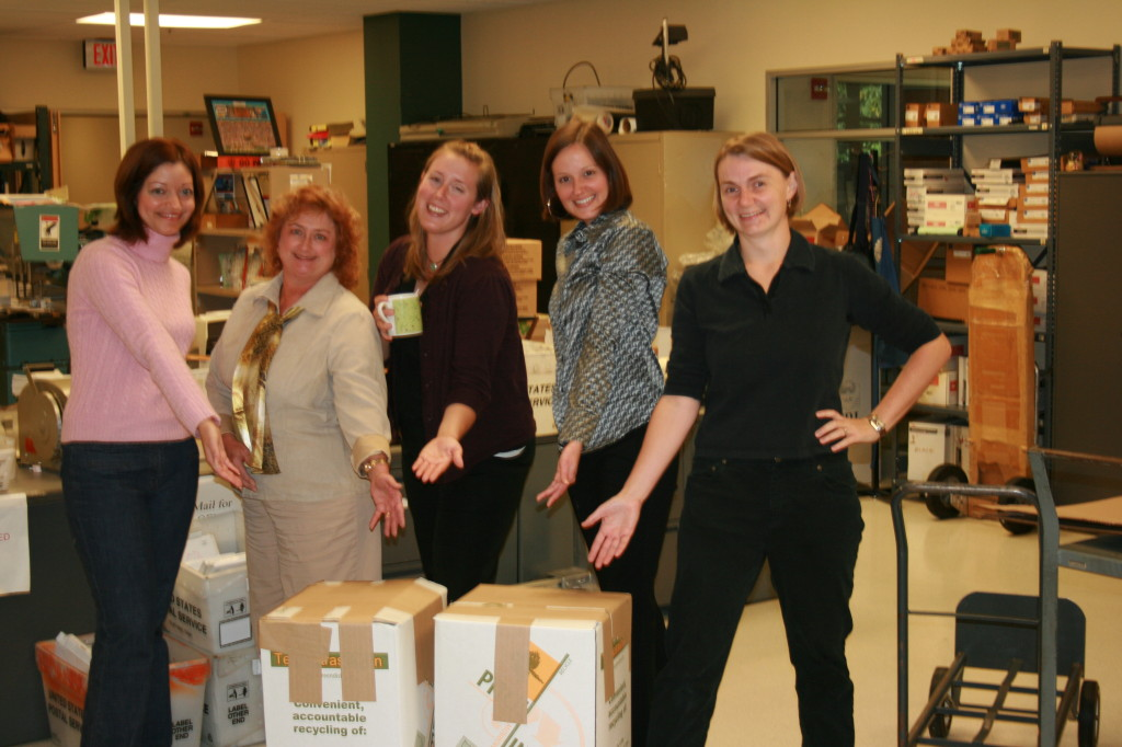Recycling Committee packages up tech waste for recycling offsite, 2008 - Jenn, Karen, Whitney & Stephanie