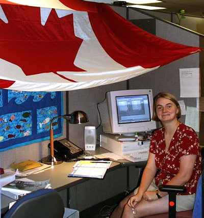 They decorated my cube for Canada Day, July 1, 2000