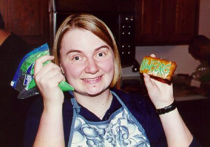 Decorating cookies for the opening of the new HQ, February 2001