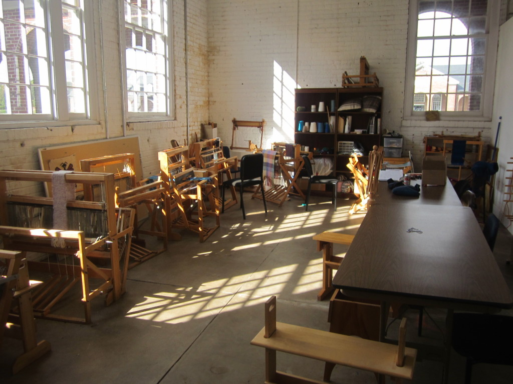 The fiber arts classroom at Workhouse Arts Center
