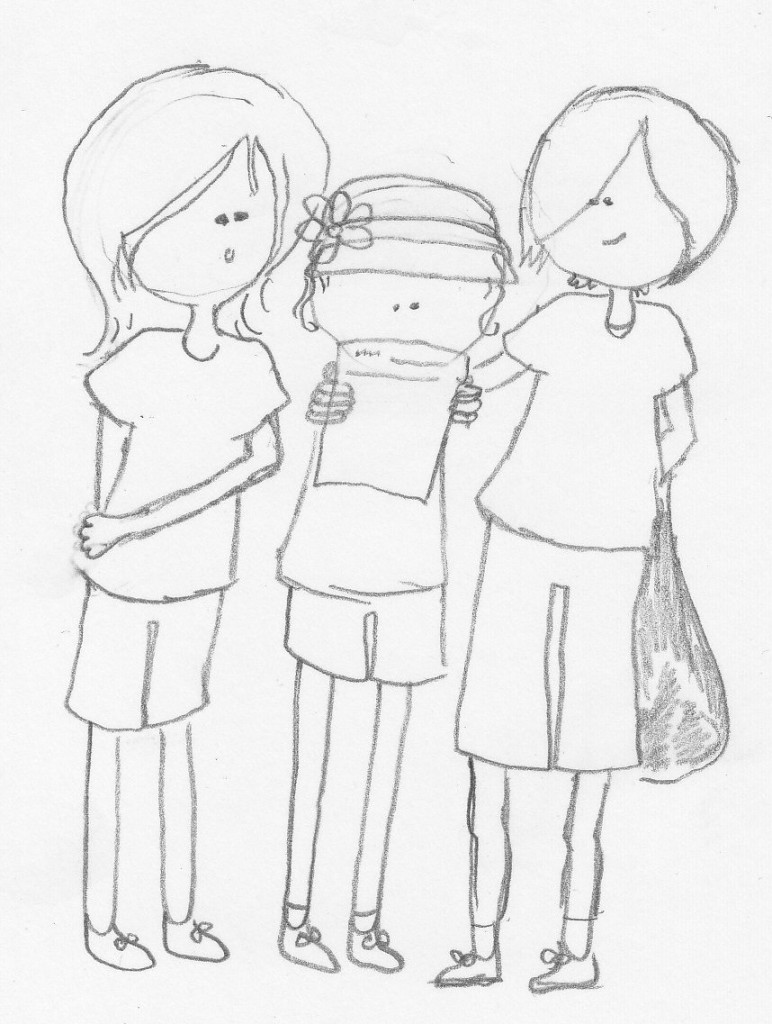 Nora's Sketch - Birthday Guests at the Mall Scavenger Hunt