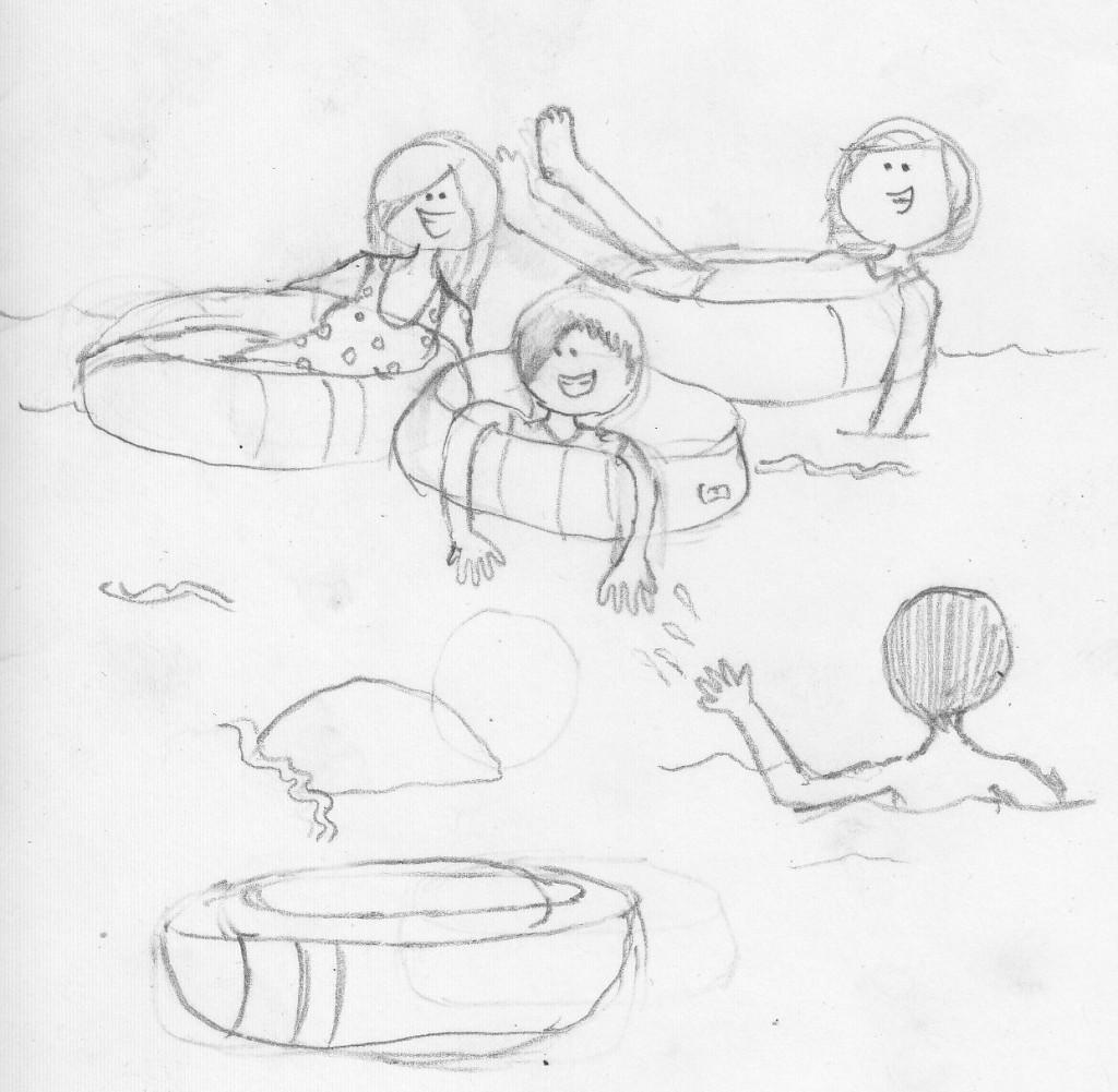 Nora's Sketch - River Tubing in New Brunswick