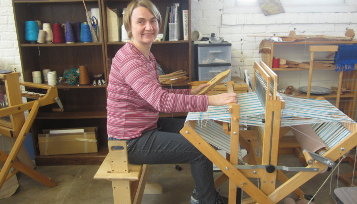 Weaving at the Workhouse Arts Center - so happy