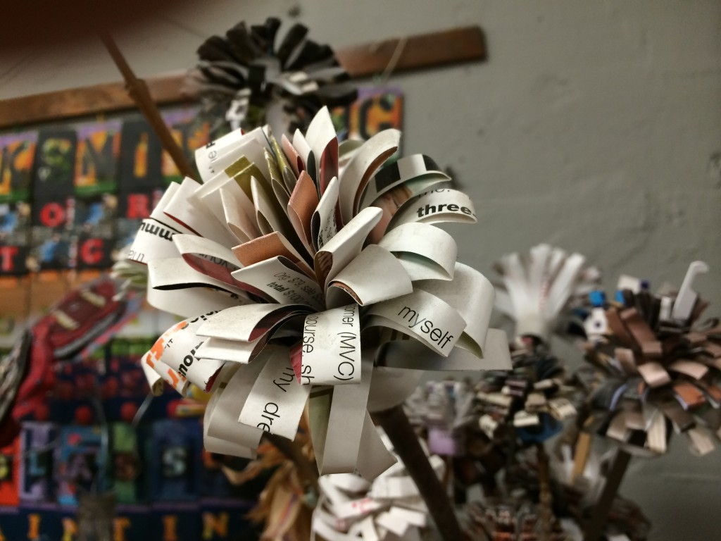 Flower from recycled paper at Pittsburgh Center for Creative Reuse