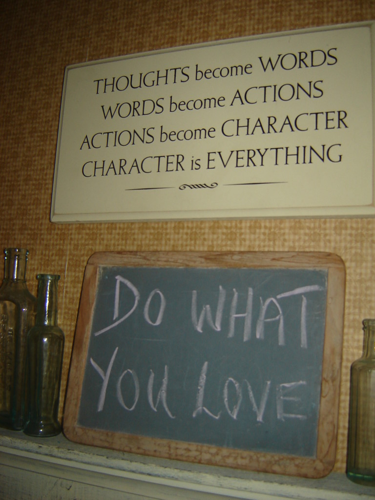 Inspirational signs in the weaving studio