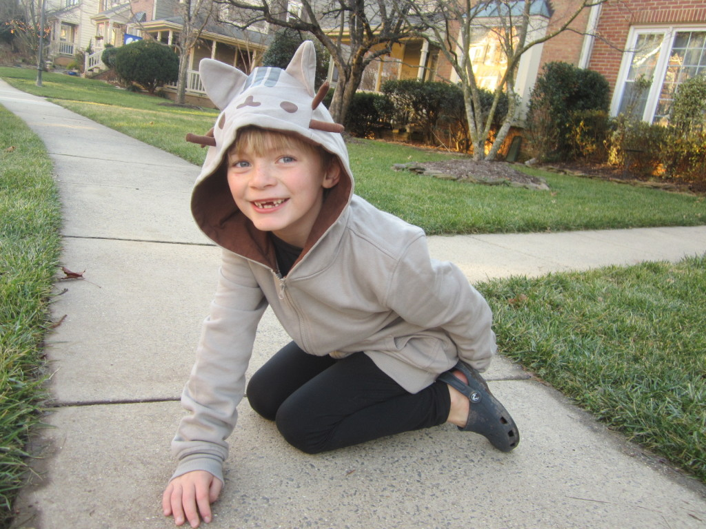 My son in his Pusheen sweatshirt