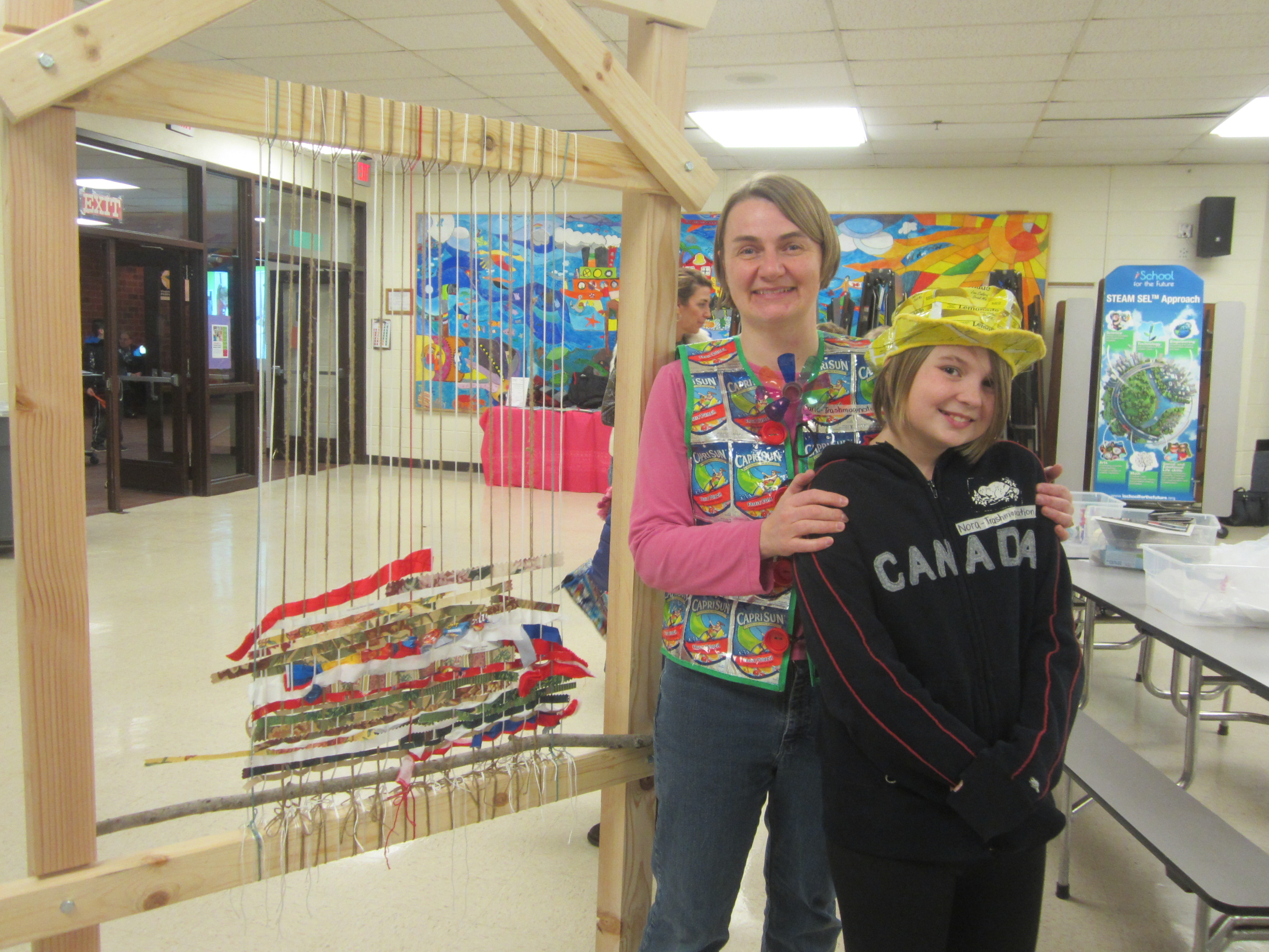 Me and my able assistant Nora with the Story Loom