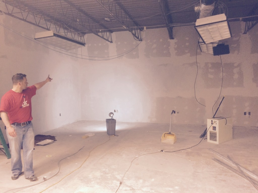 Future classroom at Nova Labs - today I sanded spackle, cleaned the dust and painted primer