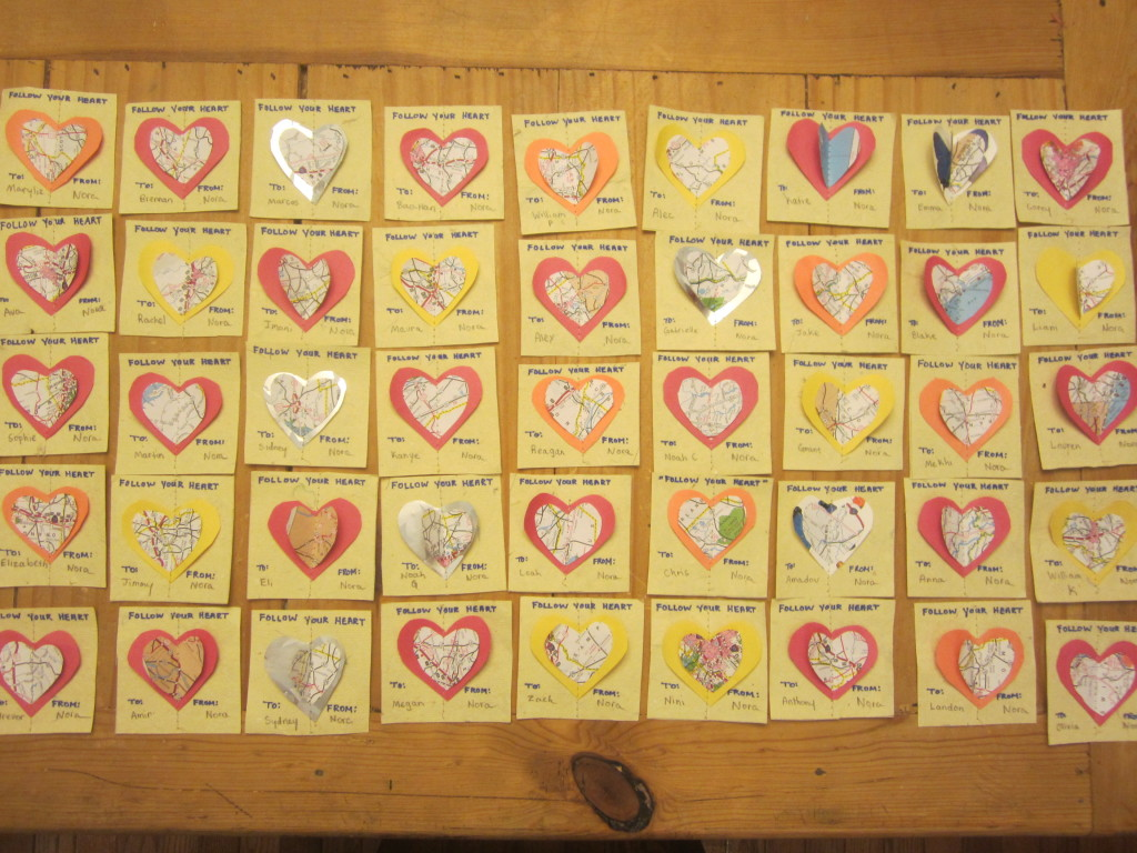 "Nora's ""Follow Your Heart"" Recycled Map Valentines"