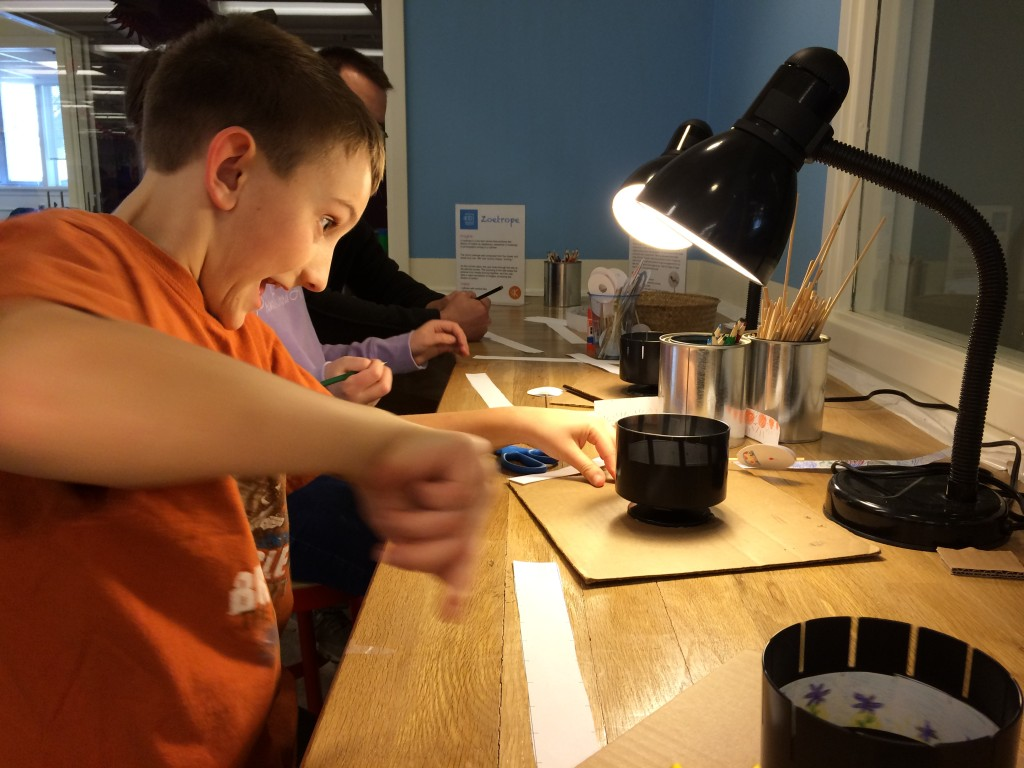 Luke is excited about his zoetrope or device for making simple animation