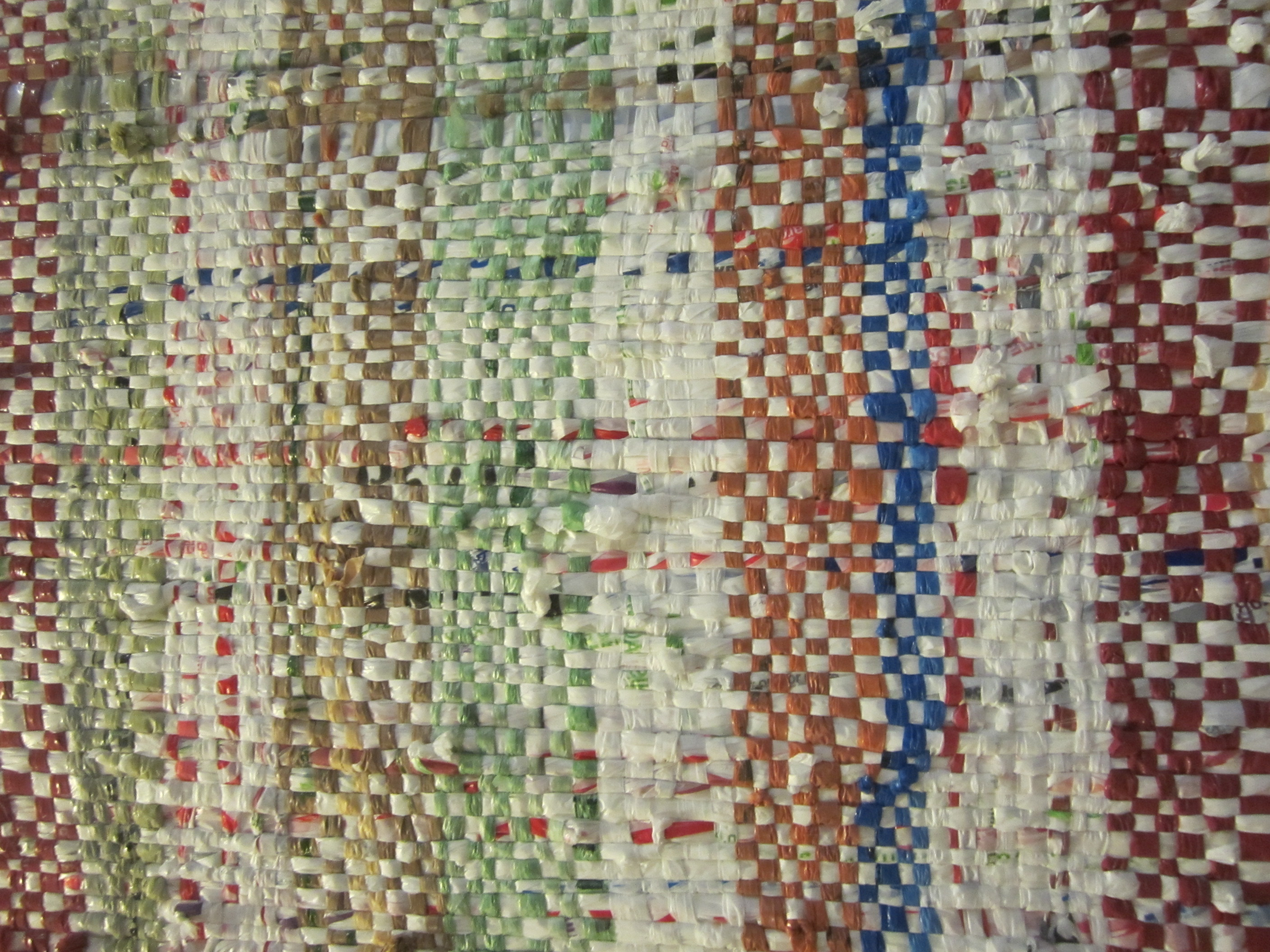 Close-up of plastic bag weaving