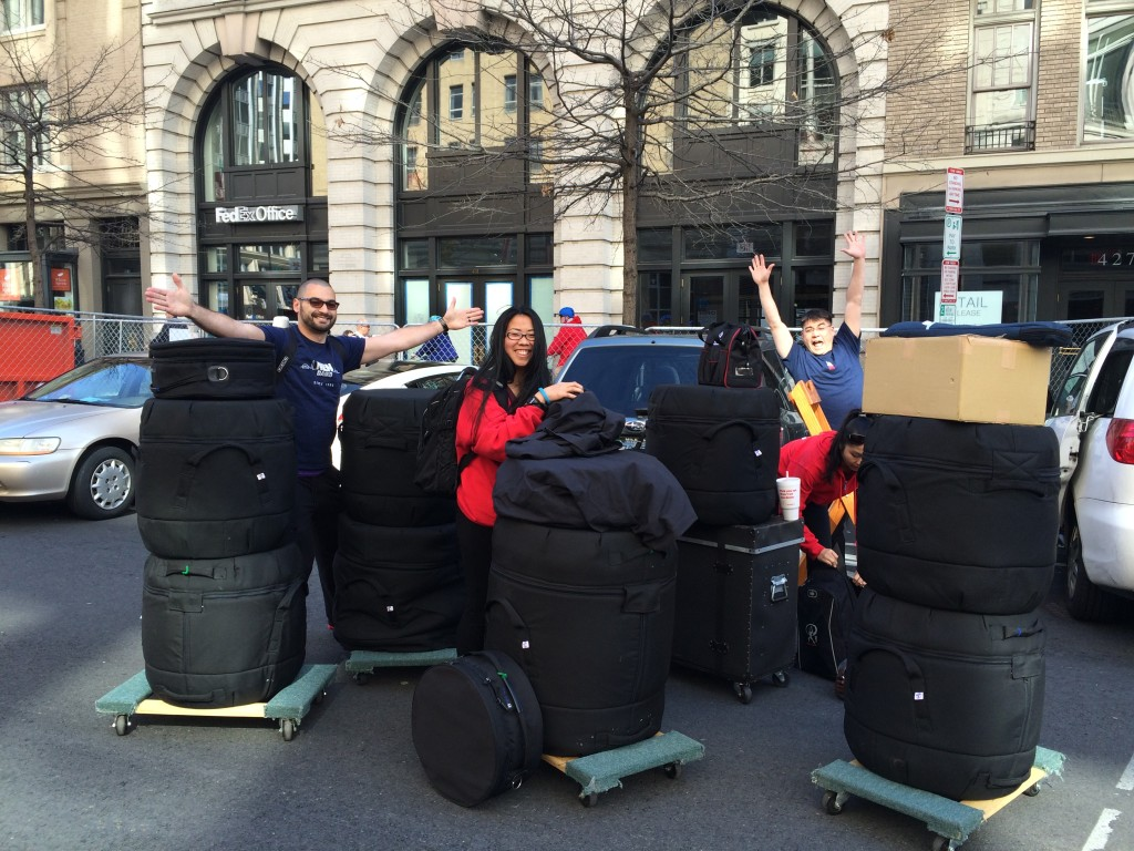 Transporting drums to the Cherry Blossom Festival stage