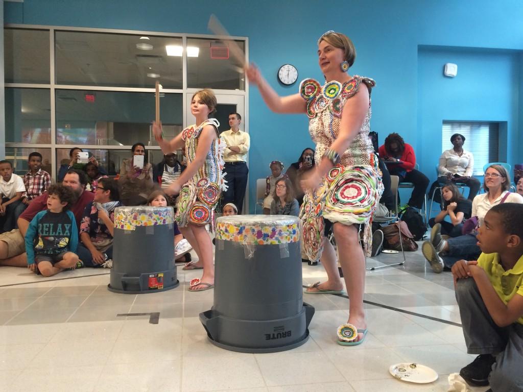 Drumming at the Trashion Fashion show