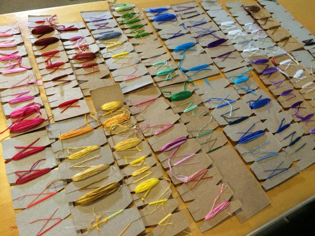 Embroidery Thread Organization - Cereal Box Cardboard