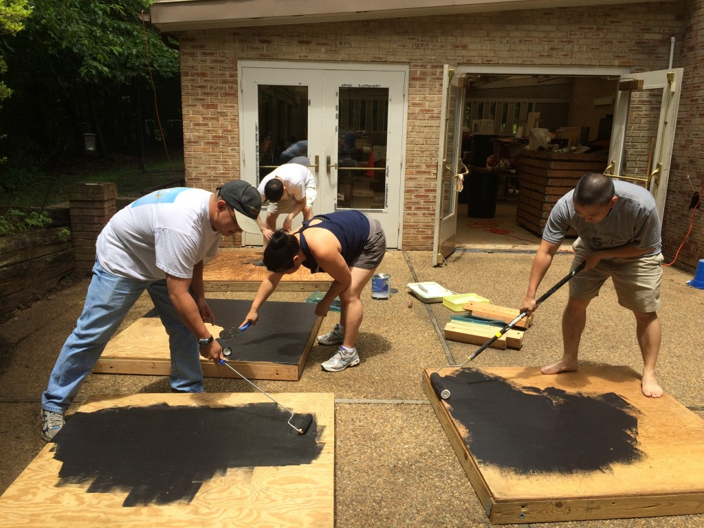 Painting the stage components to prepare for Obon Festival 2015