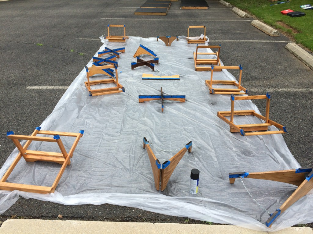 Drums stands ready for painting with rubber paint