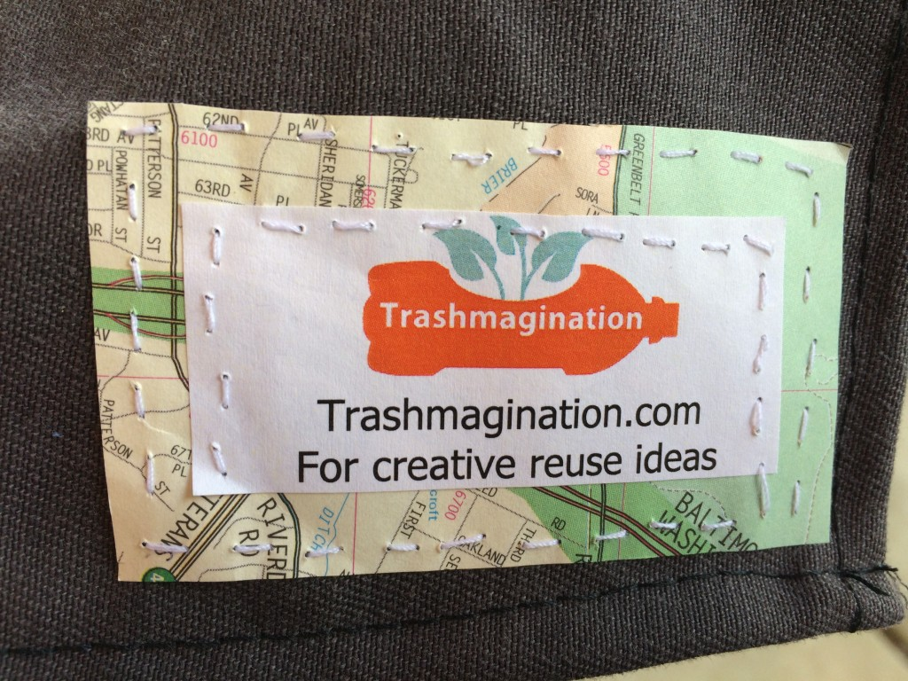 Trashmagination card sewn on the costume