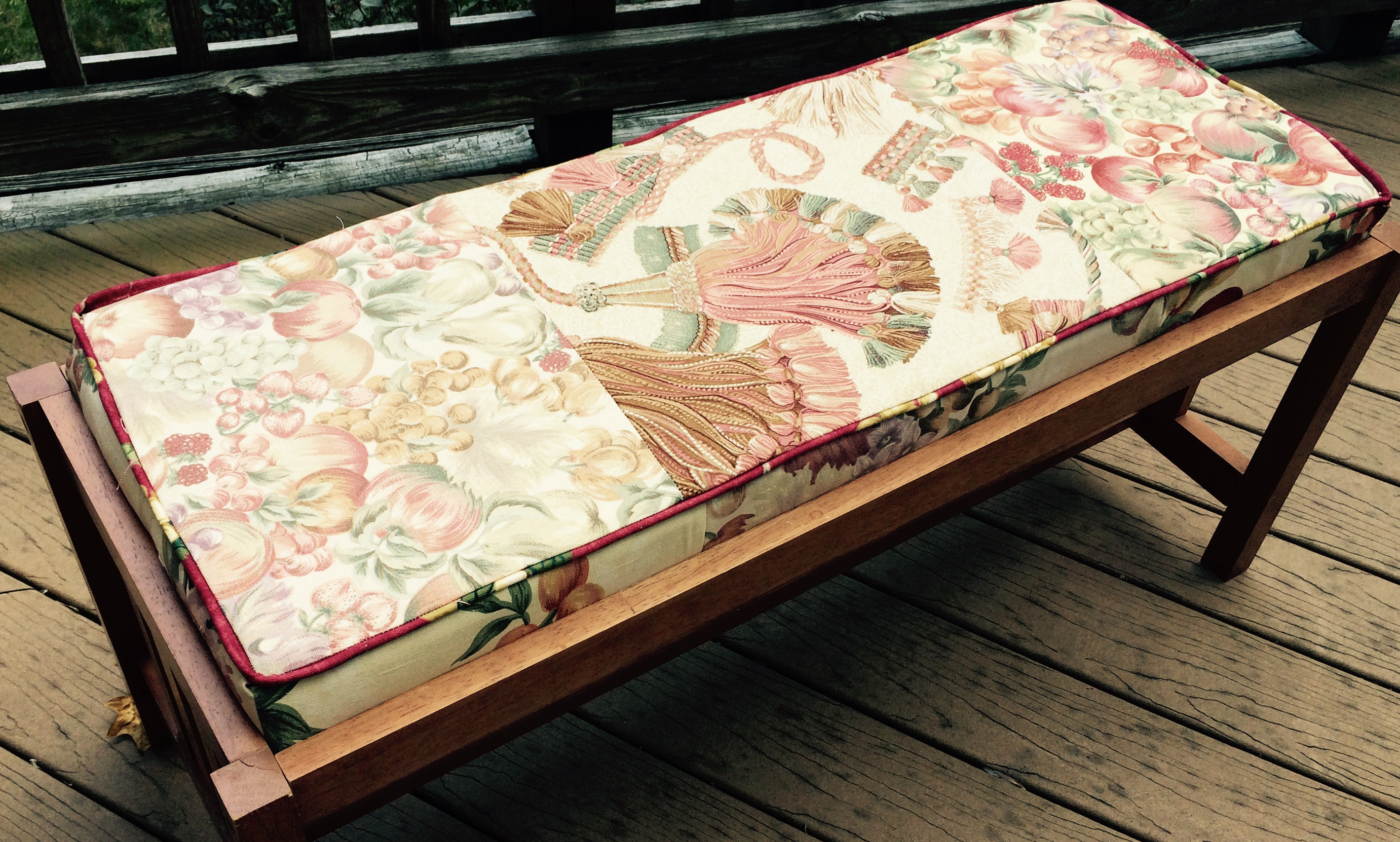 New upholstered bench cover made from interior design samples
