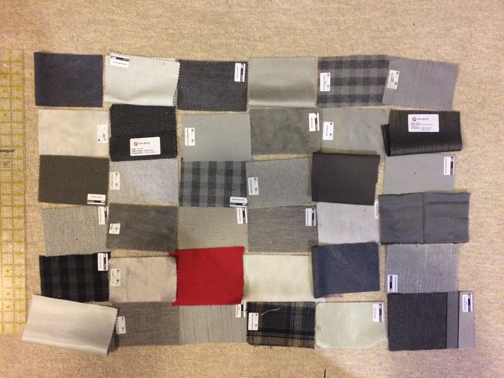 Laying out the upholstery scraps for the pillowcase design