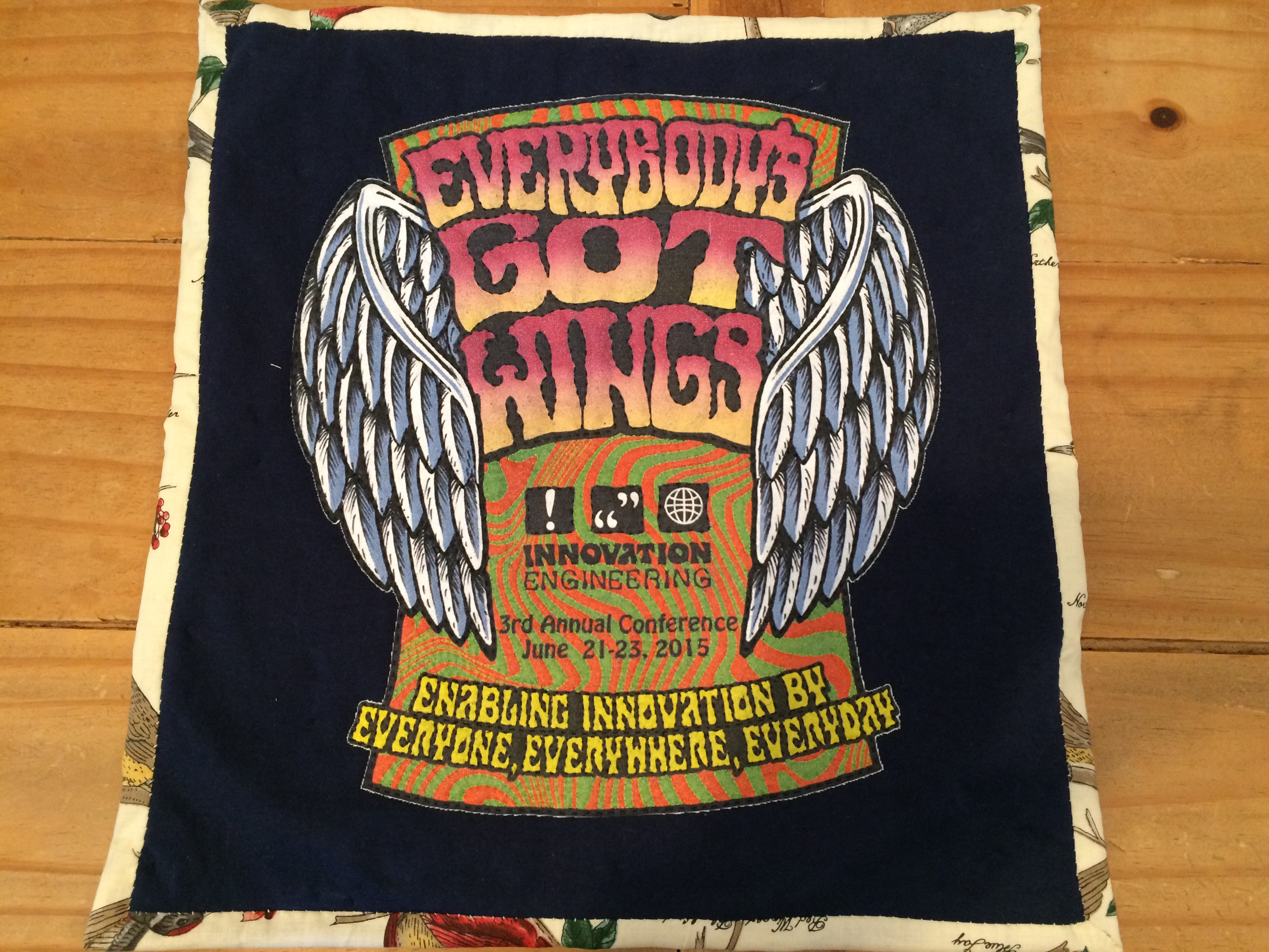 Hand-quilted Innovation Engineering Conference t-shirt