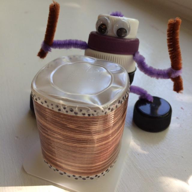 Taiko player craft with single-serve yogurt as drum