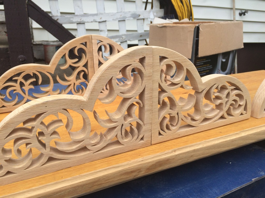 """Wood brackets carved by Isaiah """"Nokey"""" Fraser"""