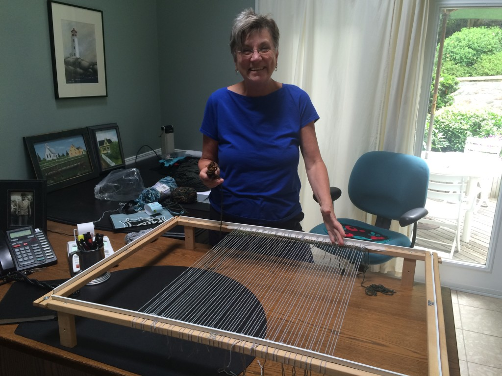 Super happy Mom starting her weaving