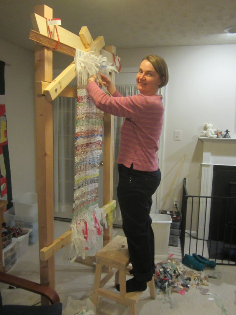 Weaving the bodice of a trash fashion dress