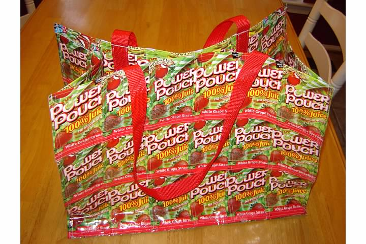 First rectangular juice pouch bag I sewed - June 2006