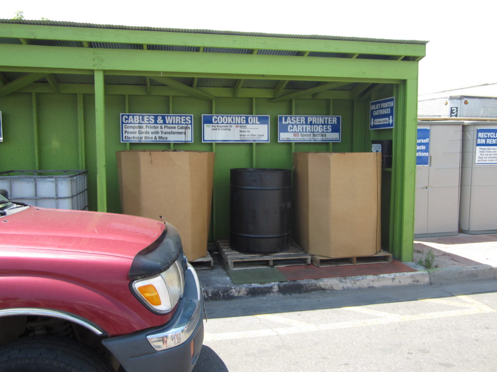 Collection bins at Eco-Cycle Center for Hard to Recycle Materials, July 2012