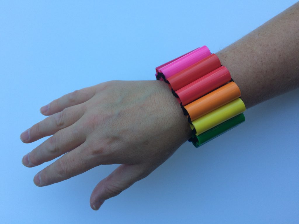 Bracelet made from marker caps