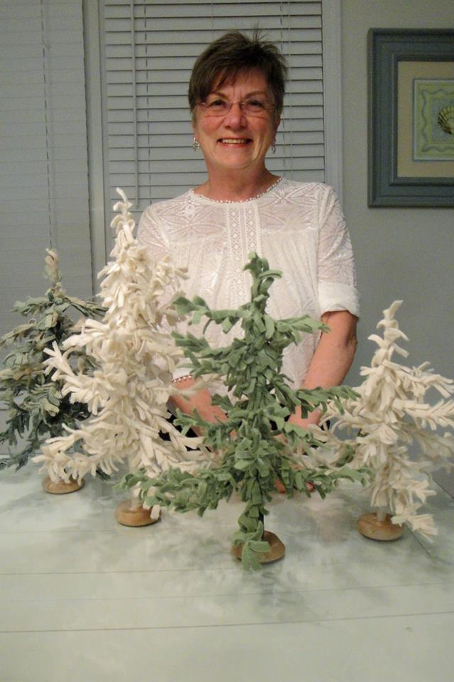My mom with her wool feather trees, March 2017