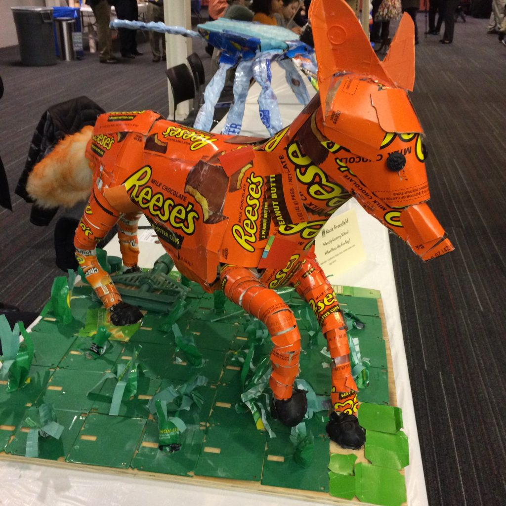 Fox from recycled packaging (Reese's Peanut Butter Cups)