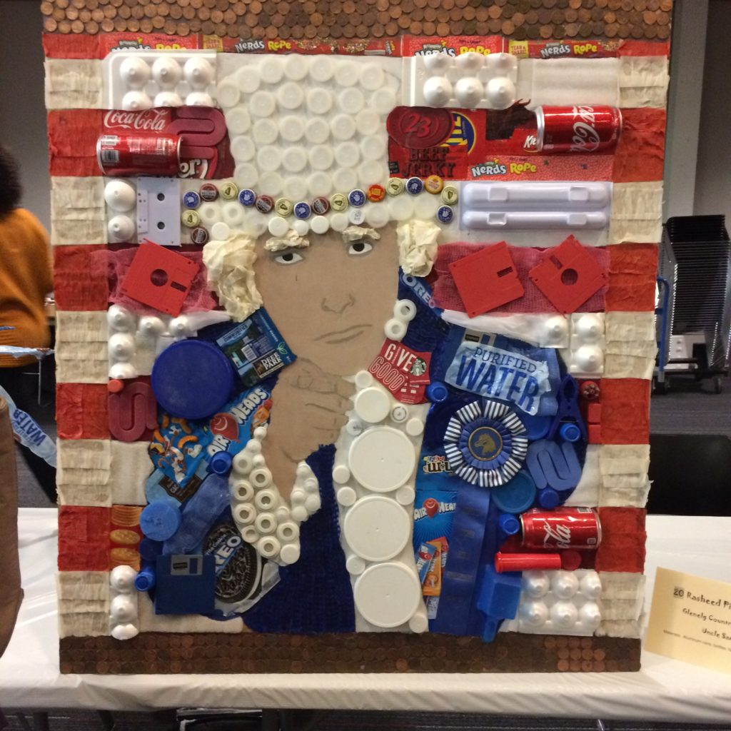 Uncle Sam recycled art by Rasheed Pierre-Louis of Glenelg Country School