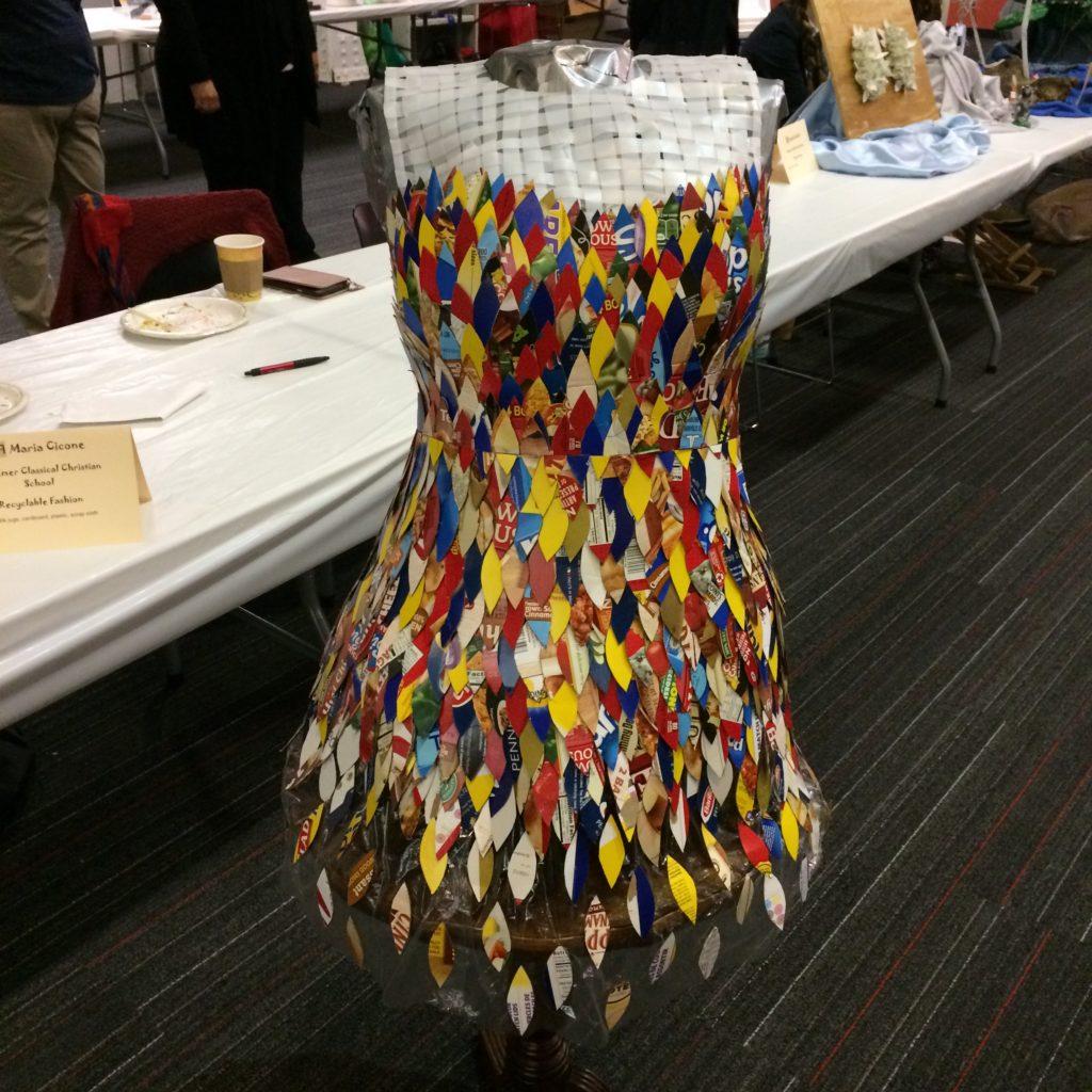 Trash fashion dress by Maria Cicone of Redeemer Classical Christian School