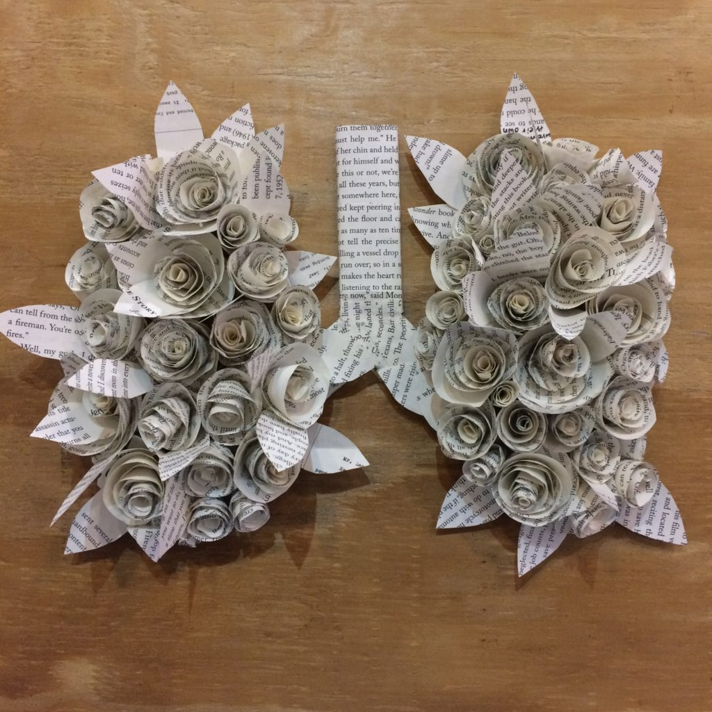 Paper Lungs recycled art by Sophie Smith of Mount de Sales Academy