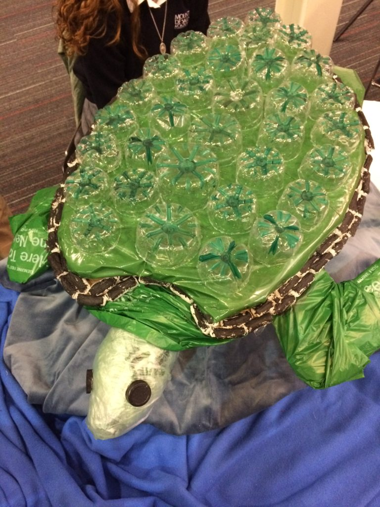 Sea Turtle Recycled Art by Gabi Gonzalez of Mount de Sales Academy