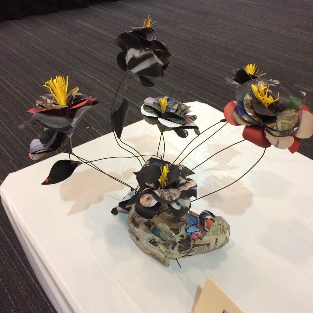 Flower Recycled Art by Kyreem Cummings of Suitland High School - People's Choice Winner
