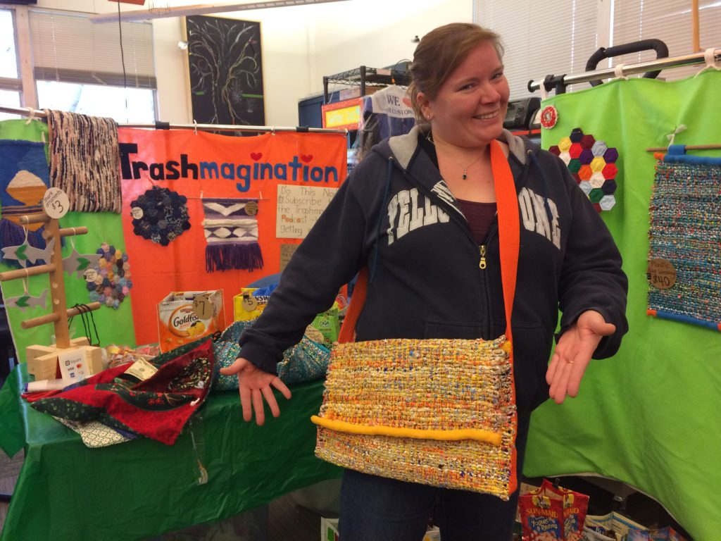 She bought my first purse made from woven plastic bags!