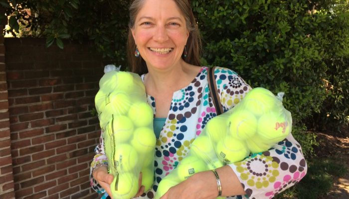 Marna with recycled tennis balls