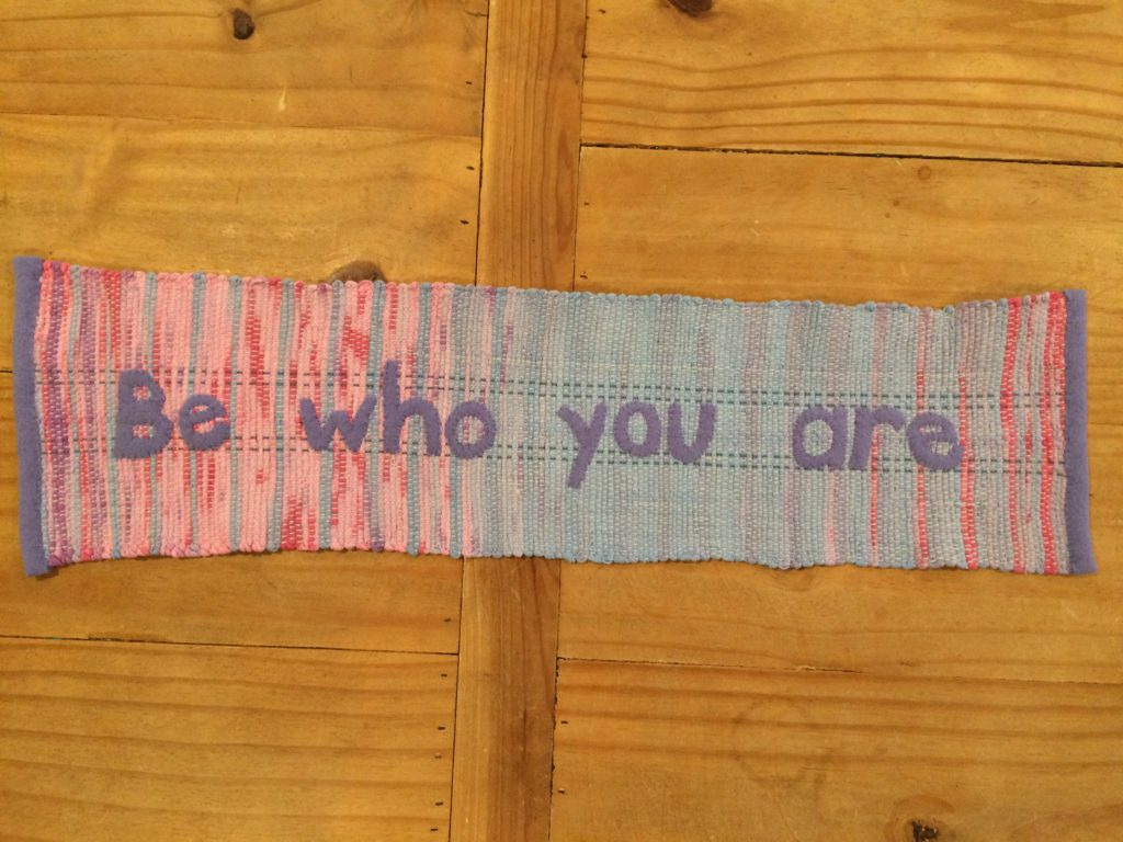 Weaving made with tie-dyed t-shirts - Be Who You Are