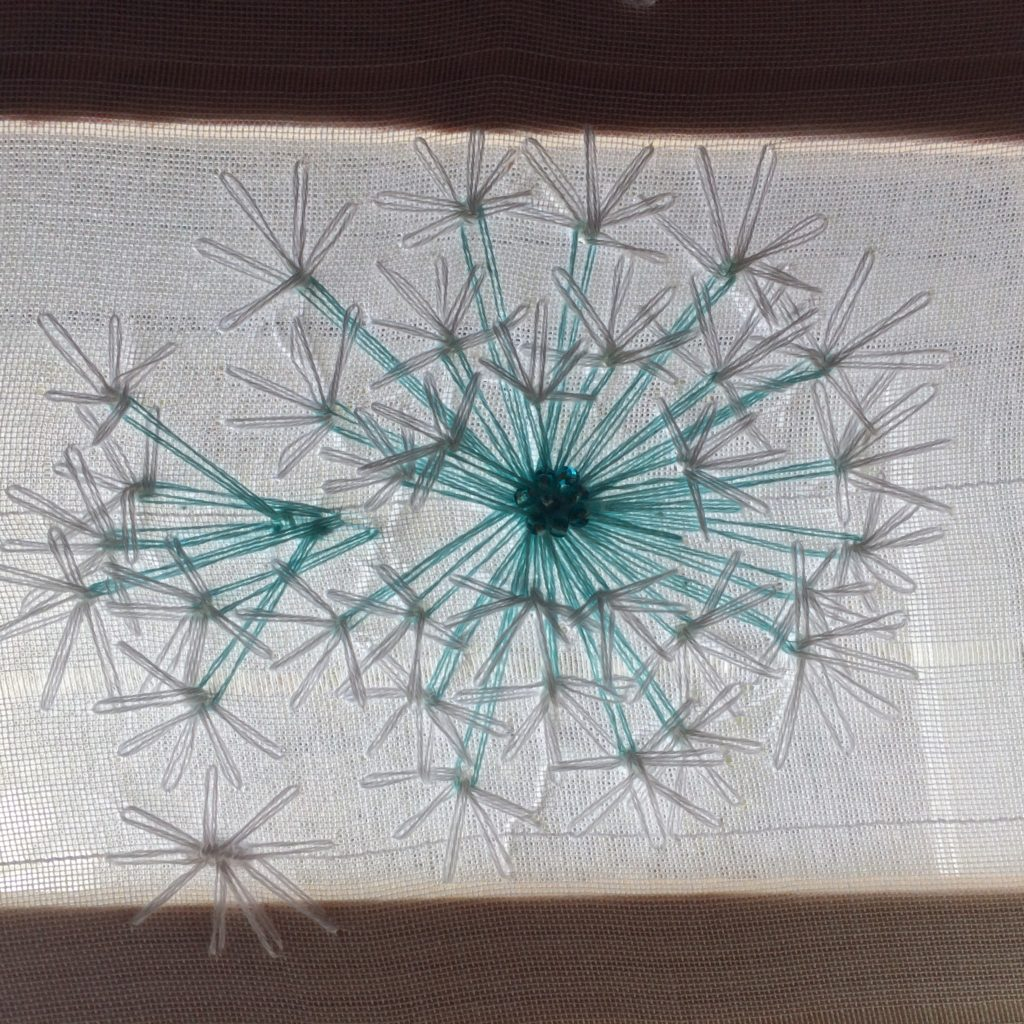 Dandelion puff embroidery, May 2018, inspired by Velvet Meadow