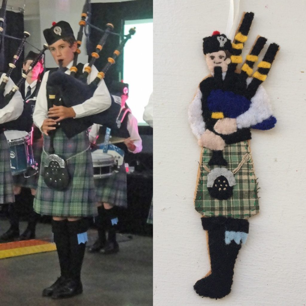 Bagpipe ornament and original photo of my nephew Owen, December 2017