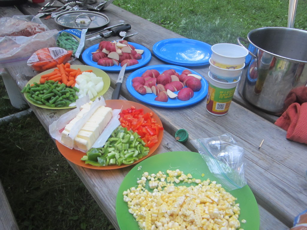 Foil dinner prep while camping - August 2013