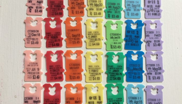 Rainbow-colored bread tags or clips
