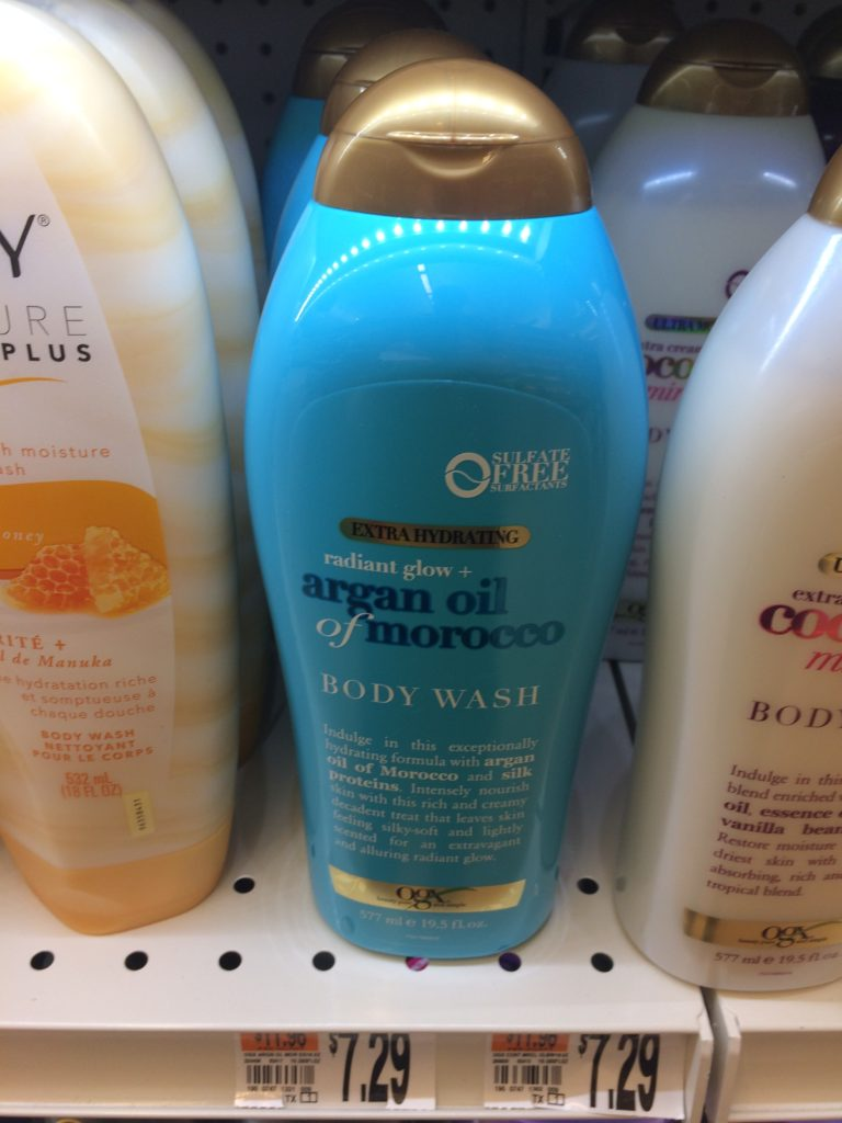 OGX blue body wash plastic bottle